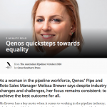 'Qenos Quicksteps Towards Equality' a feature from The Australian Pipeliner on Alkadyne's Sales Manager, Melissa Brewer